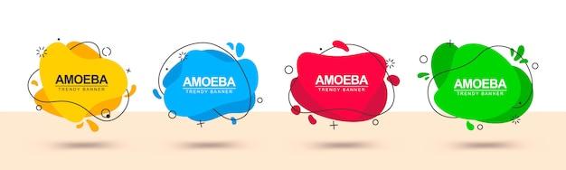赤、緑、黄色、青の抽象的な形のバナー Premiumベクター
