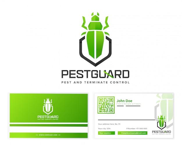 文房具の名刺とペストガードのロゴ Premiumベクター