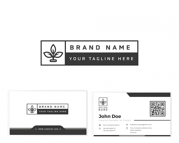 文房具の名刺と花モノグラムロゴ Premiumベクター
