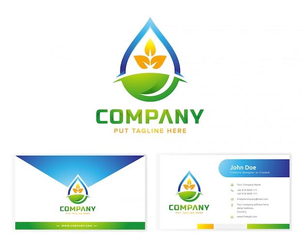 文房具の名刺と植物のロゴ Premiumベクター