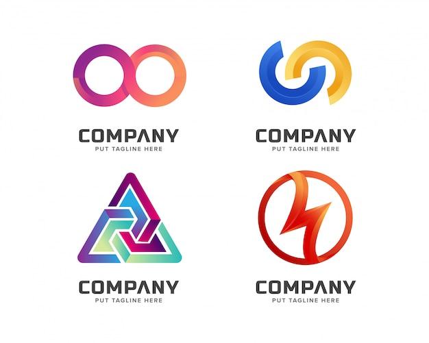 ビジネス抽象的なカラフルなロゴのテンプレートセット Premiumベクター