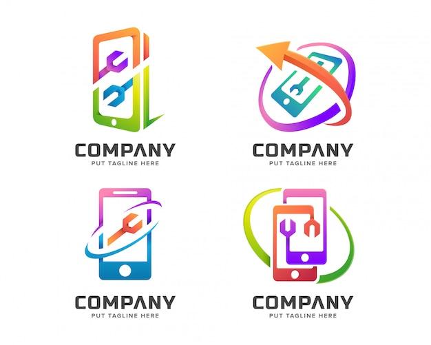 カラフルな修理携帯電話のロゴのテンプレート Premiumベクター