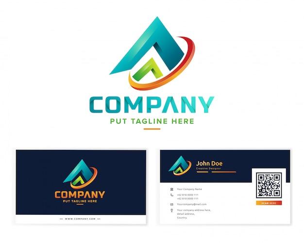 Абстрактная красочная коллекция логотипов с визитной карточкой Premium векторы