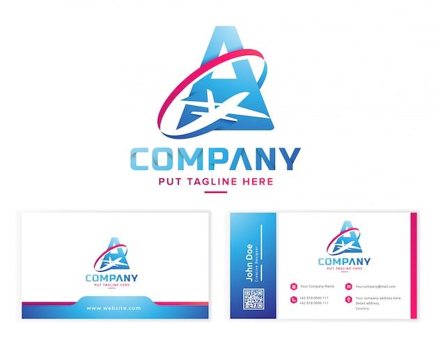 Буква а с самолетом логотип с визитной карточкой канцелярских товаров Premium векторы