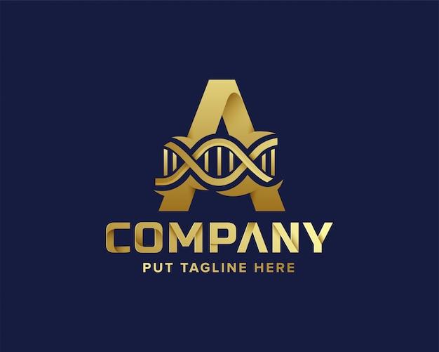 Золотая буква начальный логотип а и днк Premium векторы