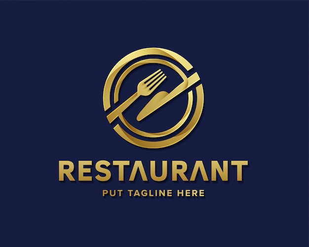 ビジネスのための高級レストランのロゴ Premiumベクター