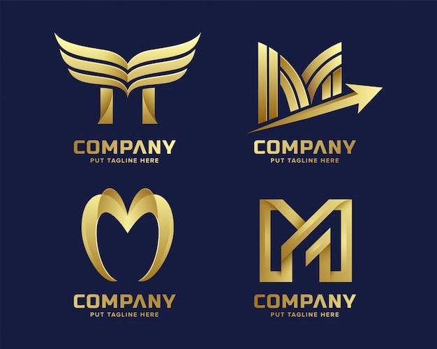 Премиум золото буква м логотип для компании Premium векторы
