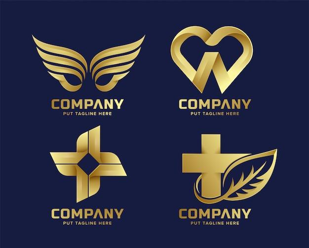 Золотая коллекция абстрактных бизнес премиум логотип Premium векторы