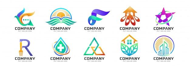 抽象的なカラフルなロゴのコレクション Premiumベクター