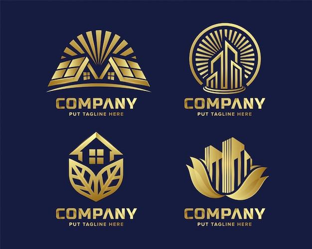 Коллекция логотипов элитной недвижимости премиум-класса Premium векторы