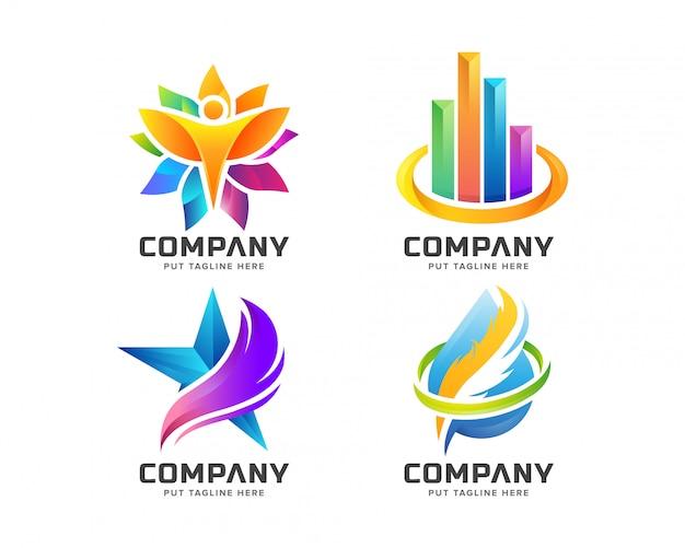 Абстрактная коллекция красочных логотипов Premium векторы