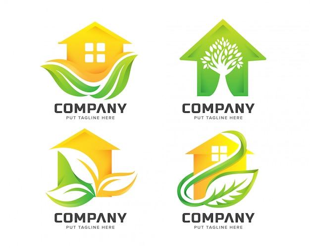 Зеленый дом логотип Premium векторы