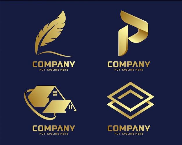ゴールドビジネスの豪華さと抽象的な形をしたエレガントなロゴのテンプレート Premiumベクター