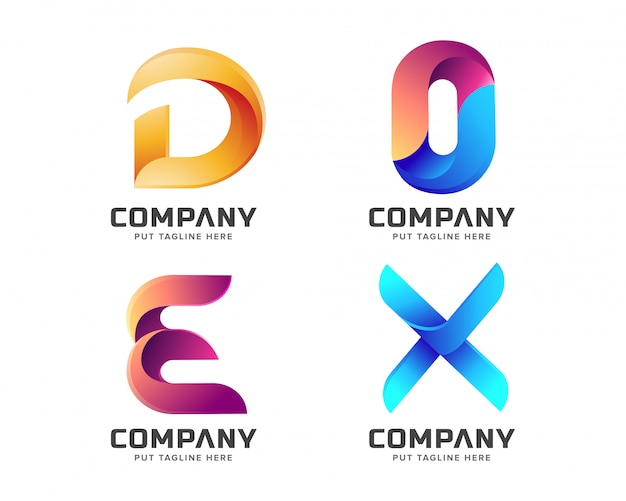 Креативное письмо начальная коллекция логотипов Premium векторы
