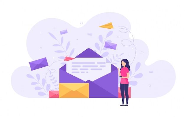 Концепция отправки и получения почтовых сообщений, социальная сеть Premium векторы