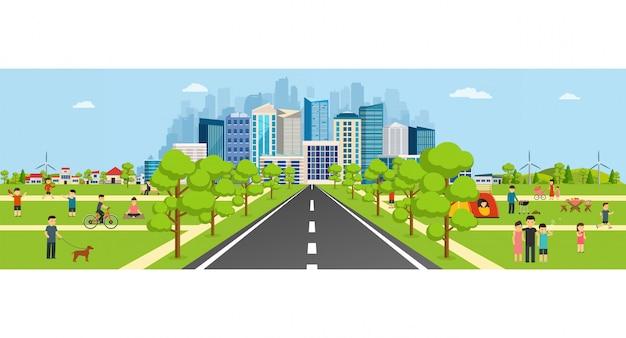 高層ビルのある近代的な大都市に通じる道がある公共公園。 Premiumベクター