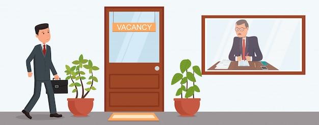 ビジネスマンは就職の面接に行きます。求人を検索します。 Premiumベクター