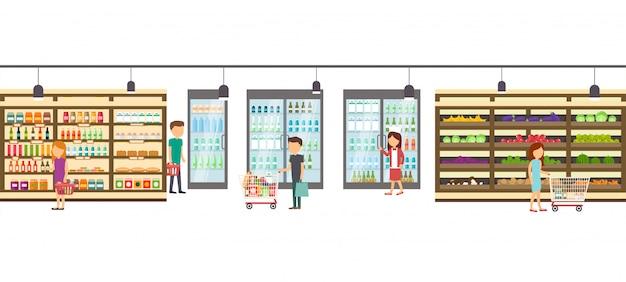 商品とスーパーマーケット店。大きなショッピングセンターインテリア店内。ショッピングモール内のシーン。 Premiumベクター