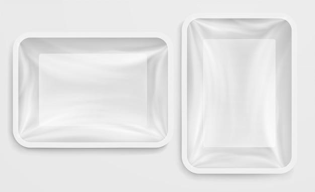 Пустой белый пластиковый контейнер пищевой контейнер Premium векторы