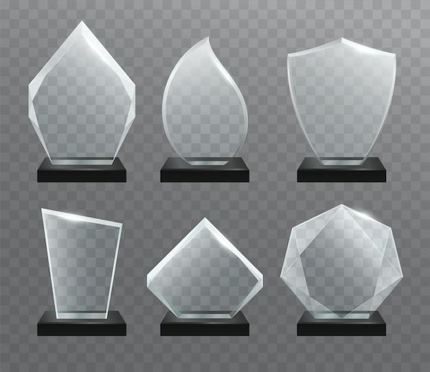 Стеклянные прозрачные трофейные награды Premium векторы