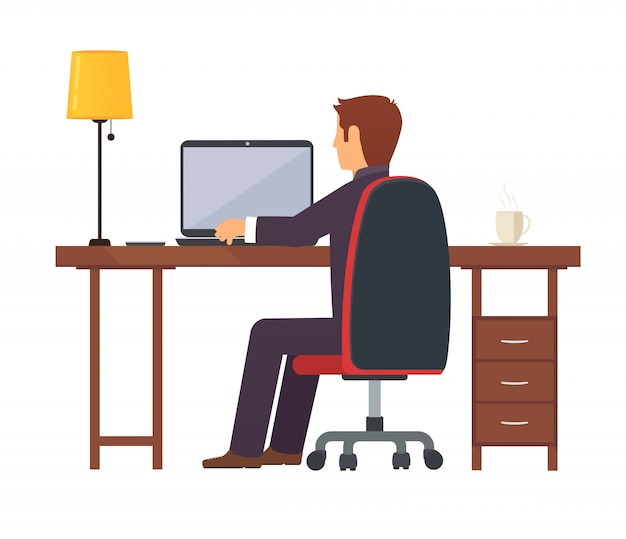 Предприниматель программист работает Premium векторы