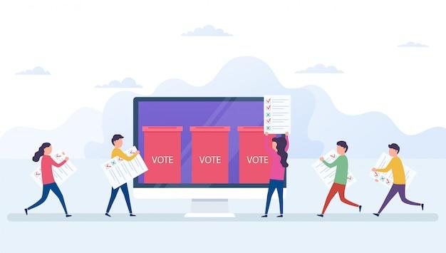 オンライン投票の概念、コンピューターの画面を持つ電子投票システム Premiumベクター