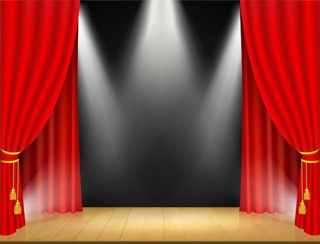 スポットライトと赤いカーテンの劇場の舞台 Premiumベクター