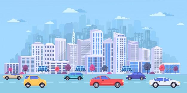 大規模なモダンな建物と街並み Premiumベクター