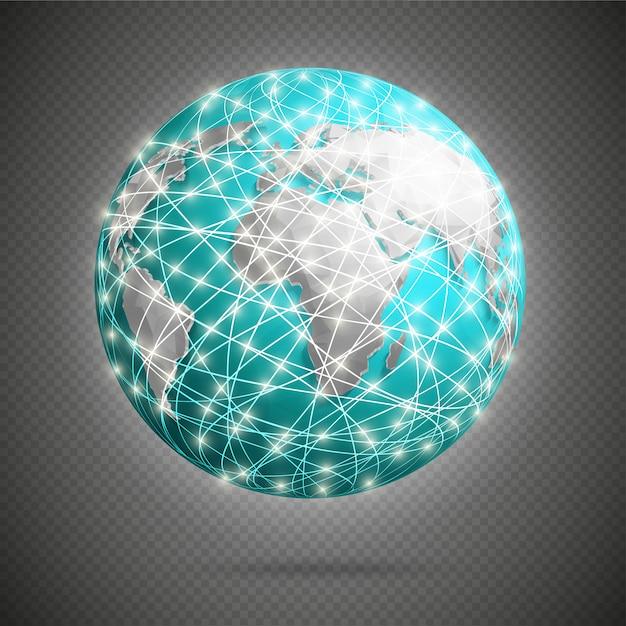 地球の周りの白熱灯による世界的なデジタル接続 Premiumベクター