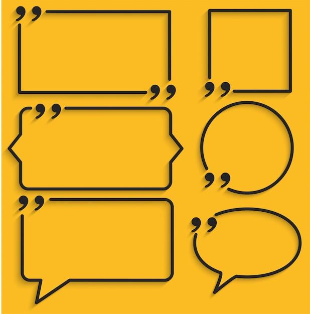 黄色の引用符の抽象的なフレーム Premiumベクター