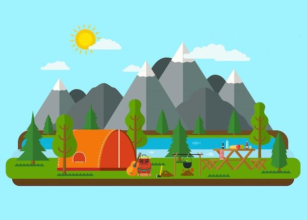 夏の風景。川の近くの山でテントとピクニックバーベキュー。ハイキングとキャンプ。 Premiumベクター