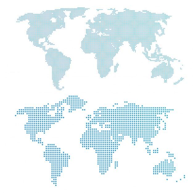 ドット、青い色の世界地図。 Premiumベクター
