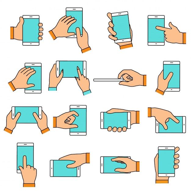 タッチスクリーン上の手ジェスチャー。スマートフォンやその他のデジタル機器を持っている手。フラットなデザイン要素を持つ行アイコンを設定します。 Premiumベクター