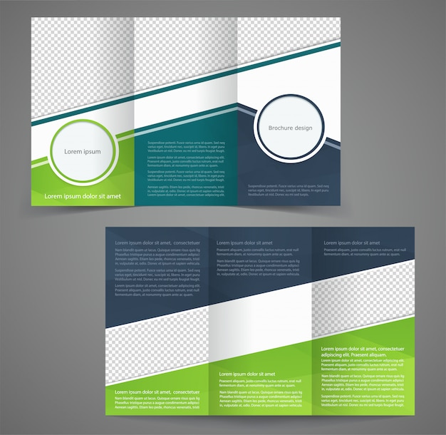 Три раза шаблон бизнес-брошюры, двусторонний дизайн шаблона Premium векторы