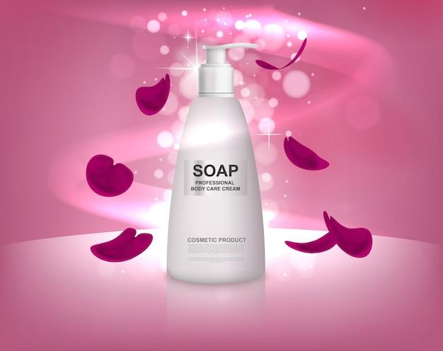 Бутылка белого жидкого мыла с лепестками роз. Premium векторы
