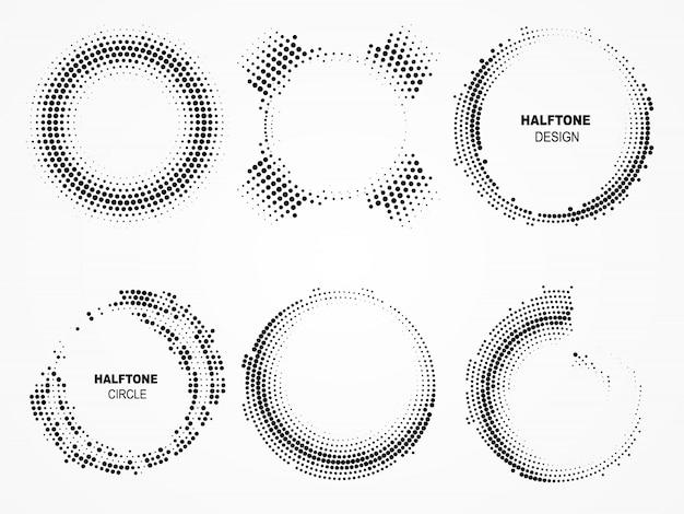 ハーフトーン円形フレーム。ドットと技術界。 Premiumベクター