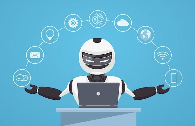 チャットボット、ロボットのバーチャルアシスタンス。 Premiumベクター