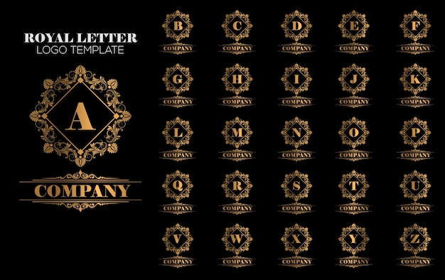 豪華なロイヤルヴィンテージゴールドのロゴのテンプレートベクトル Premiumベクター