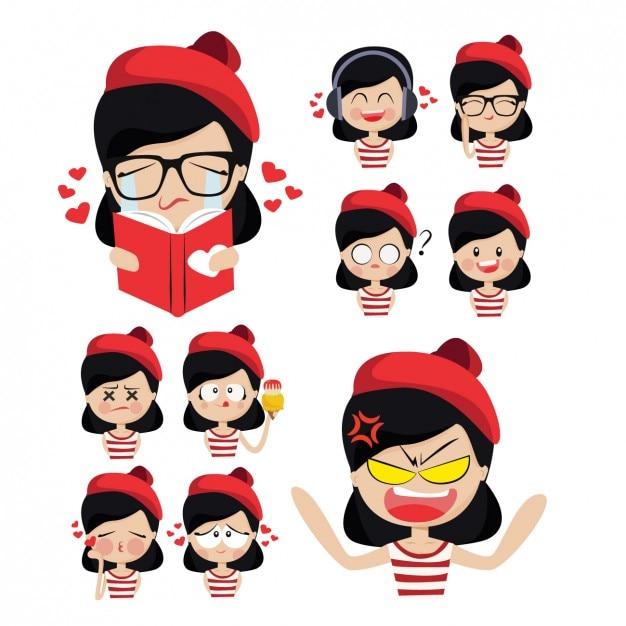 赤い帽子と彼女の感情を持つかわいい女の子 無料ベクター