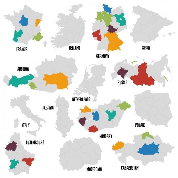 さまざまな国の政治地図 無料ベクター