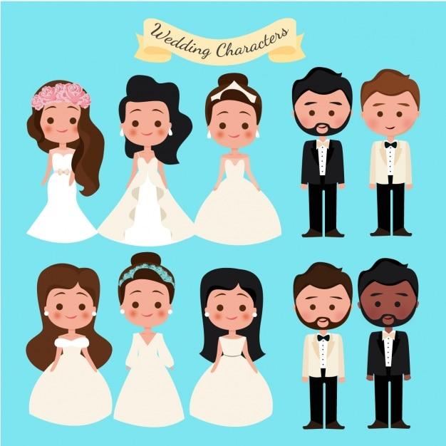 結婚式の文字コレクション 無料ベクター