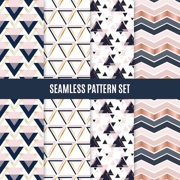 シームレスな幾何学的スカンジナビアパターンセット Premiumベクター
