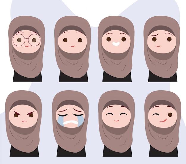 イスラム教徒の少女キャラクターの感情 Premiumベクター
