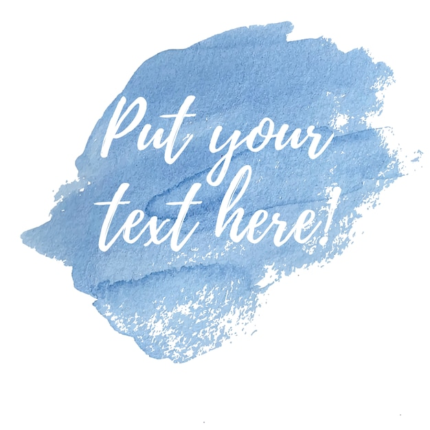 テキストテンプレート付きの青い水彩 無料ベクター