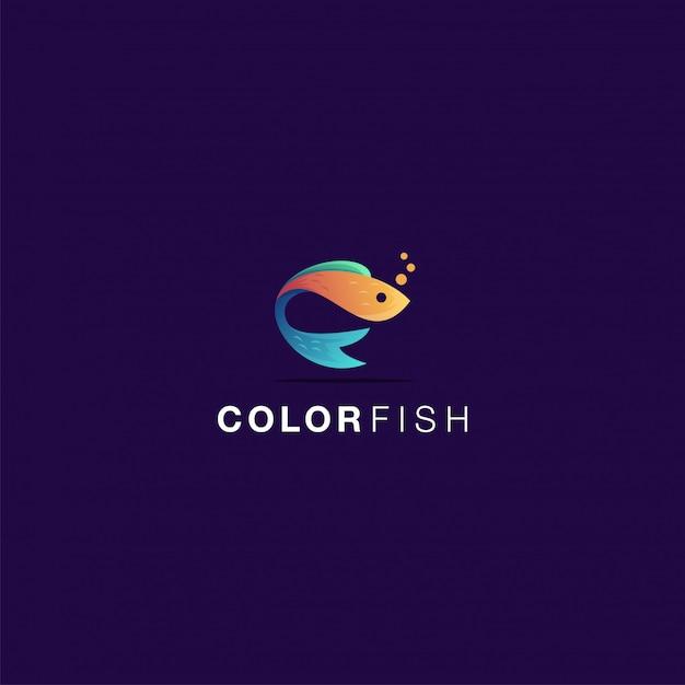 Цветной логотип рыбы потрясающее вдохновение Premium векторы