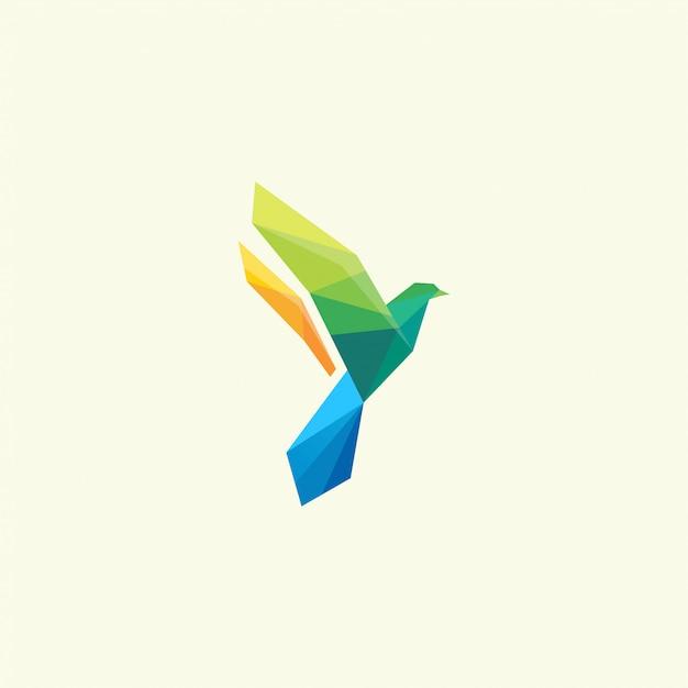 Цвет птицы дизайн логотипа вдохновение офигенно Premium векторы
