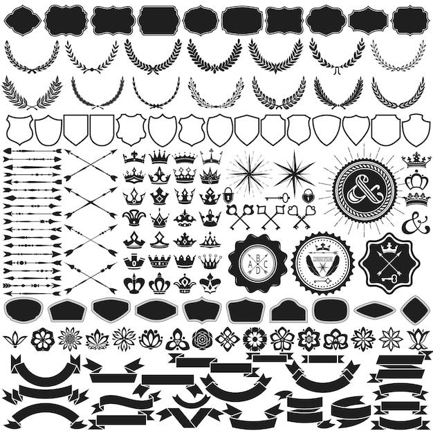 紋章作成のためのデザイン要素コレクション 無料ベクター