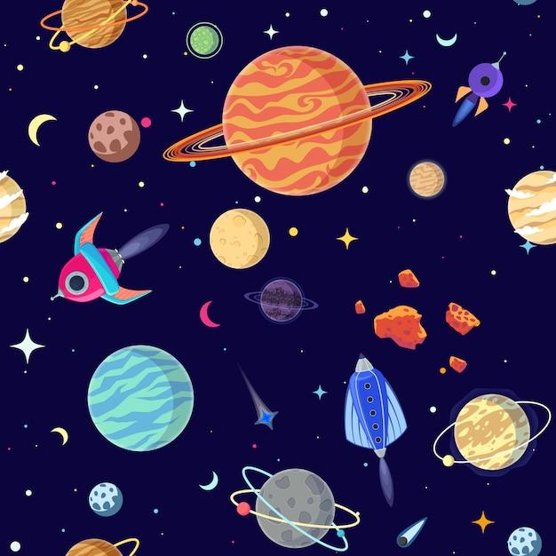 Бесшовные планет в открытом космосе. Premium векторы