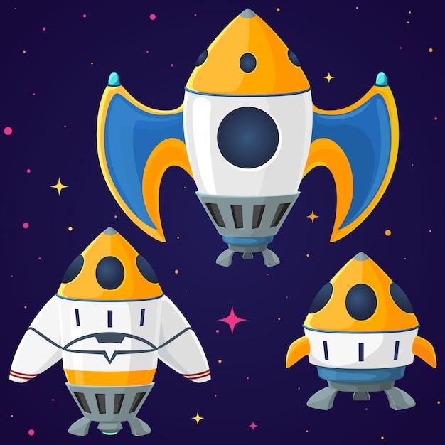 漫画ベクトル宇宙船とロケットのセット Premiumベクター