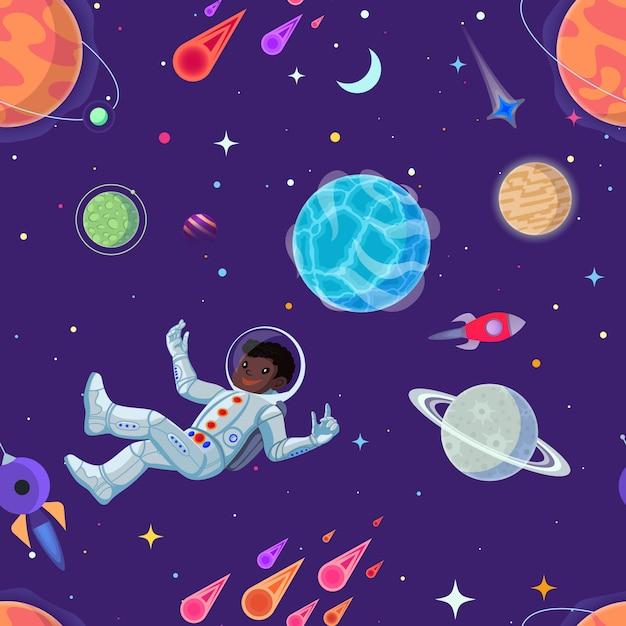 Космонавт на открытом пространстве бесшовные Premium векторы